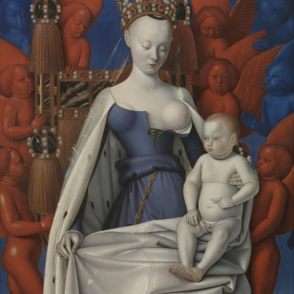 "MELUN İKİLİSİ: MELEKLERLE ÇEVRİLİ MERYEM VE ÇOCUK İSA ""THE MELUN DIPTYCH: VIRGIN AND THE CHILD SURROUNDED BY ANGELS"" – FOUQUET"