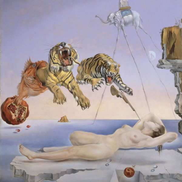 "BİR NARIN ETRAFINDA UÇAN ARININ SEBEP OLDUĞU RÜYADAN UYANMADAN BİR SANİYE ÖNCESİ ""ONE SECOND BEFORE THE AWAKENING FROM THE DREAM CAUSED BY THE FLIGHT OF A BEE AROUND A POMEGRANATE"" – DALÍ"