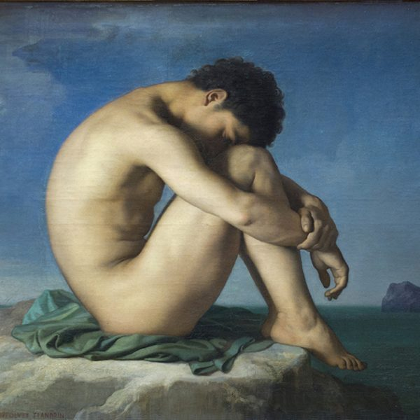 "DENİZ KENARINDA OTURAN ÇIPLAK GENÇ ADAM ""YOUNG NUDE MALE SEATED BY THE SEA"" – FLANDRIN"