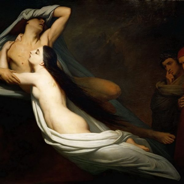 "PAOLO VE FRANCESCA'NIN HAYALETLERİ DANTE VE VIRGILIUS'A GÖRÜNÜYOR ""THE GHOSTS OF PAOLO AND FRANCESCA APPEAR TO DANTE AND VIRGIL"" – SCHEFFER"